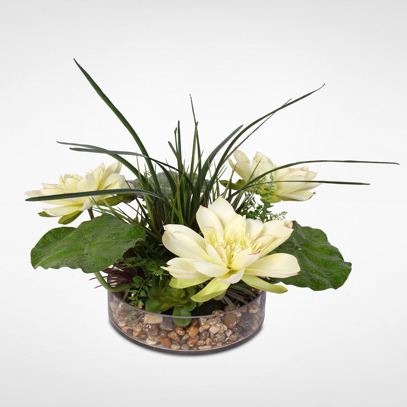 Red Barrel Studio Lotus Blossom Mixed Floral Arrangement In Pot