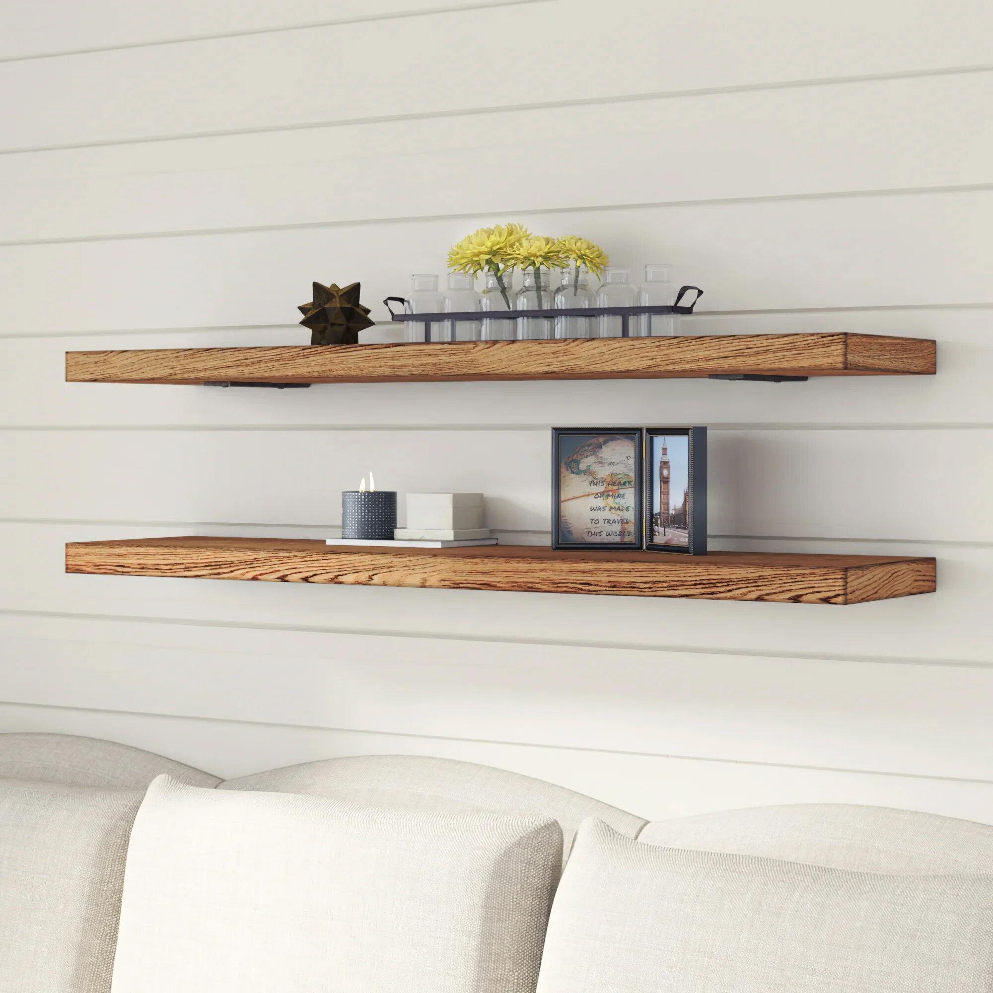 Gracie Oaks Geller Modern Hardwood Wall Shelf Reviews Wayfair