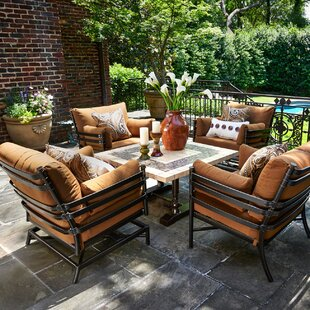 Lancaster 5 Piece Sunbrella Dining Set with Cushions by Peak Season Inc.