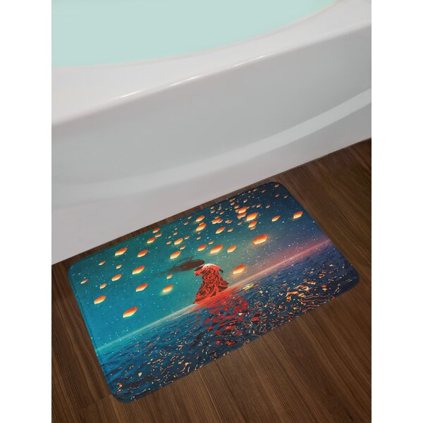 Sorcerer Woman With Dress Standing On Water With Lanterns On Air Fantasy Art Non Slip Plush Bath Rug