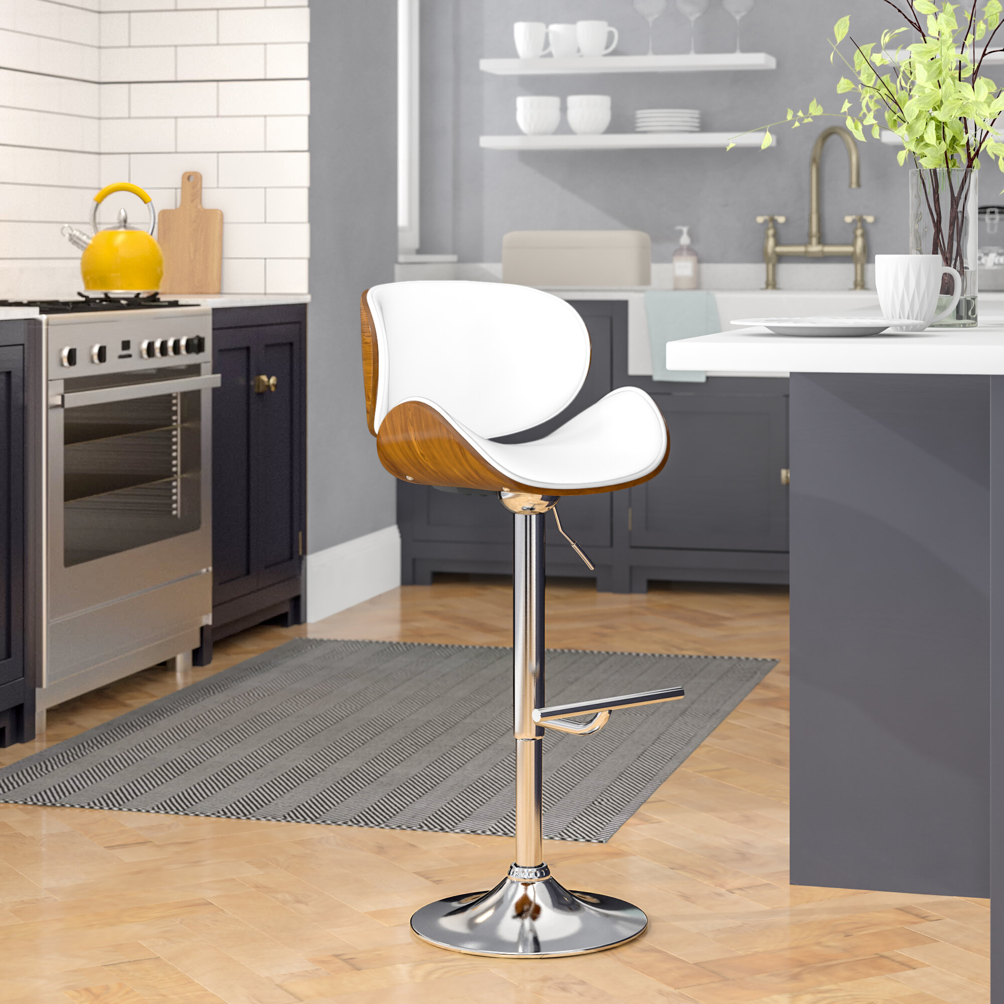 Awe Inspiring George Oliver Bissett Adjustable Height Swivel Bar Stool Beatyapartments Chair Design Images Beatyapartmentscom