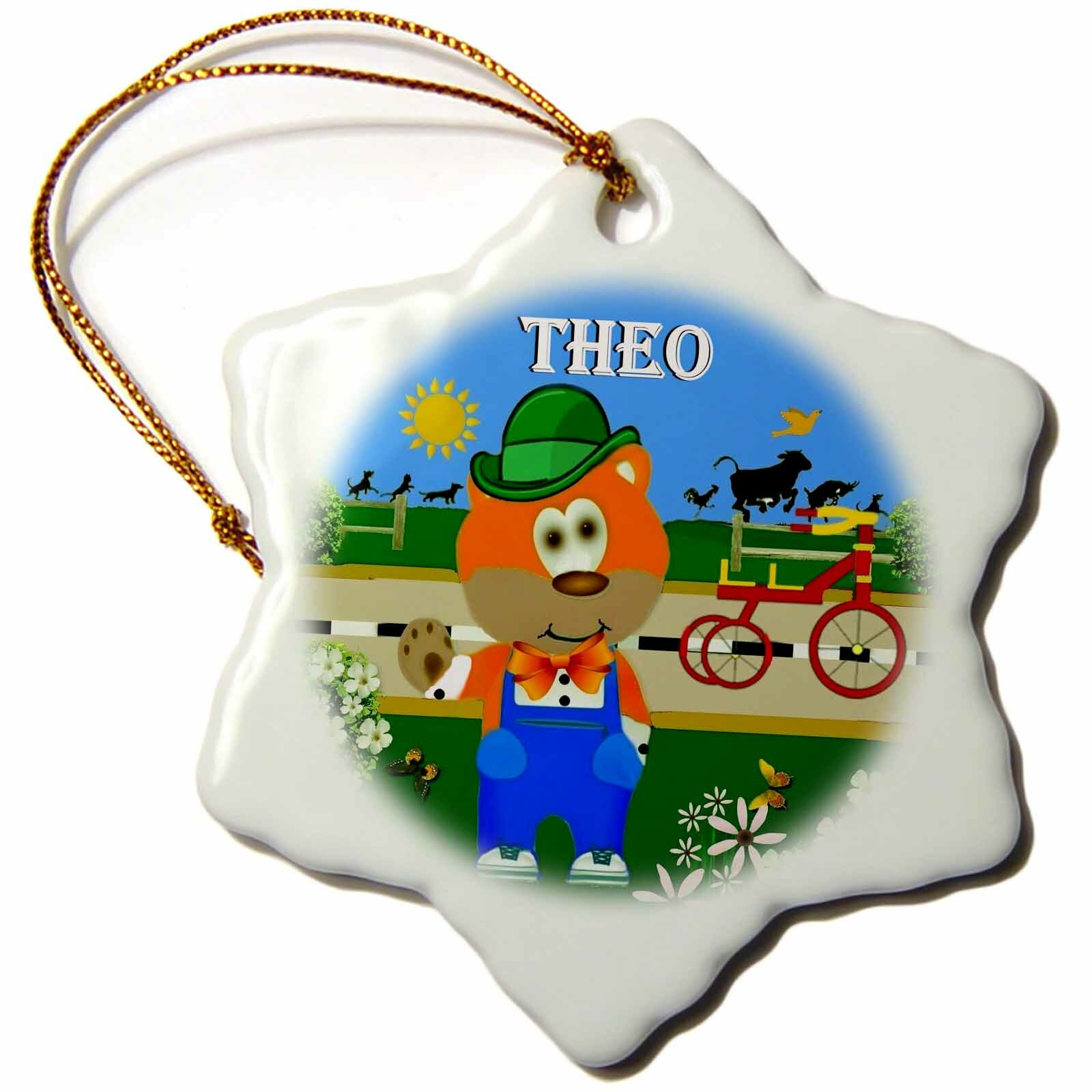 The Holiday Aisle Decorative Bear Wearing Overalls With The Name Theo Holiday Shaped Ornament Wayfair