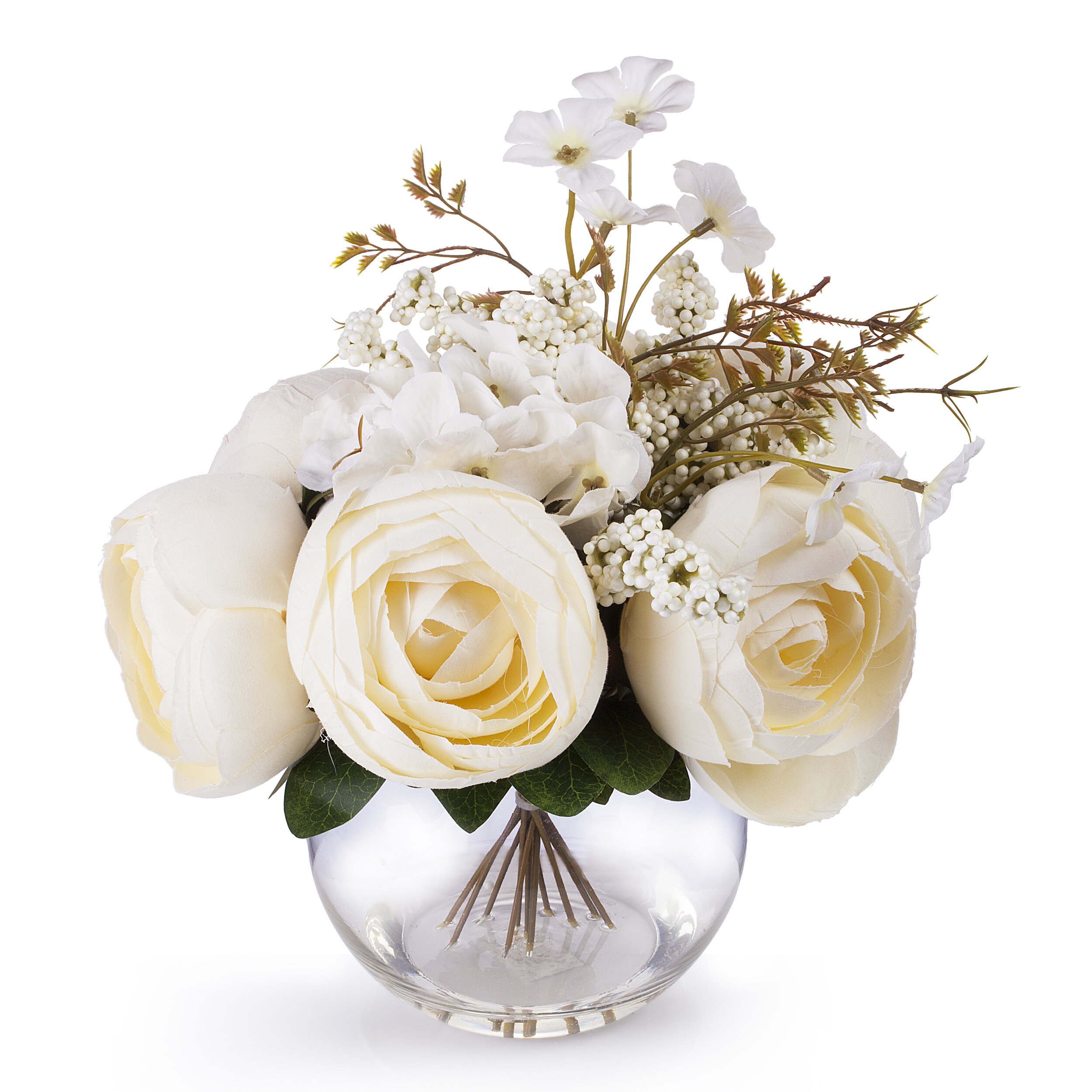House Of Hampton Beige Silk Peony And Hydrangea Flower Arrangement In Clear Glass Vase With Faux Water Reviews Wayfair