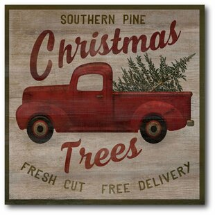 pick up truck trees graphic art print on canvas