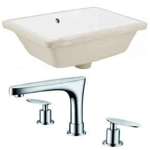 Affordable Ceramic Rectangular Undermount Bathroom Sink with Faucet and Overflow By American Imaginations