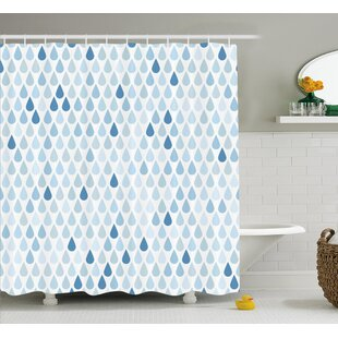 Rain Drops Motive Decor Single Shower Curtain