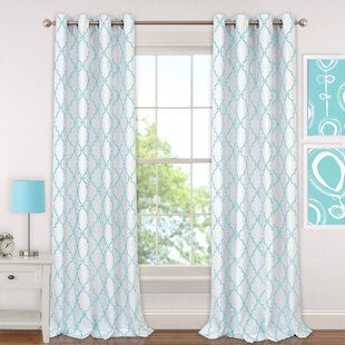 Ashby Geometric Blackout Grommet Single Curtain Panel by The Twillery Co.
