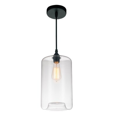 1-light Cylinder Pendant Cwilighting Shade Color: Clear