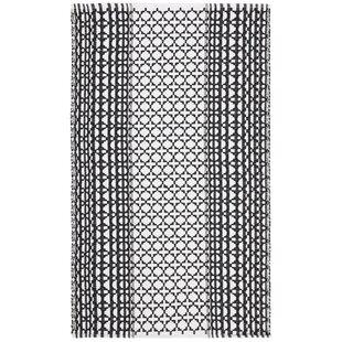 Compare prices Zoltán Handwoven Flatweave Cotton Black/White Area Rug ByGracie Oaks
