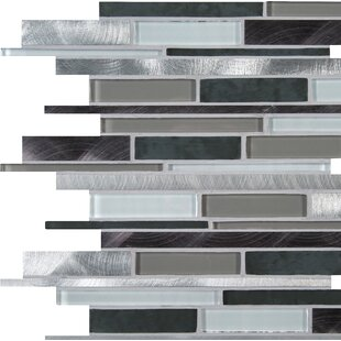 Cityscape Random Sized Glass/Metal Mosaic Tile in White