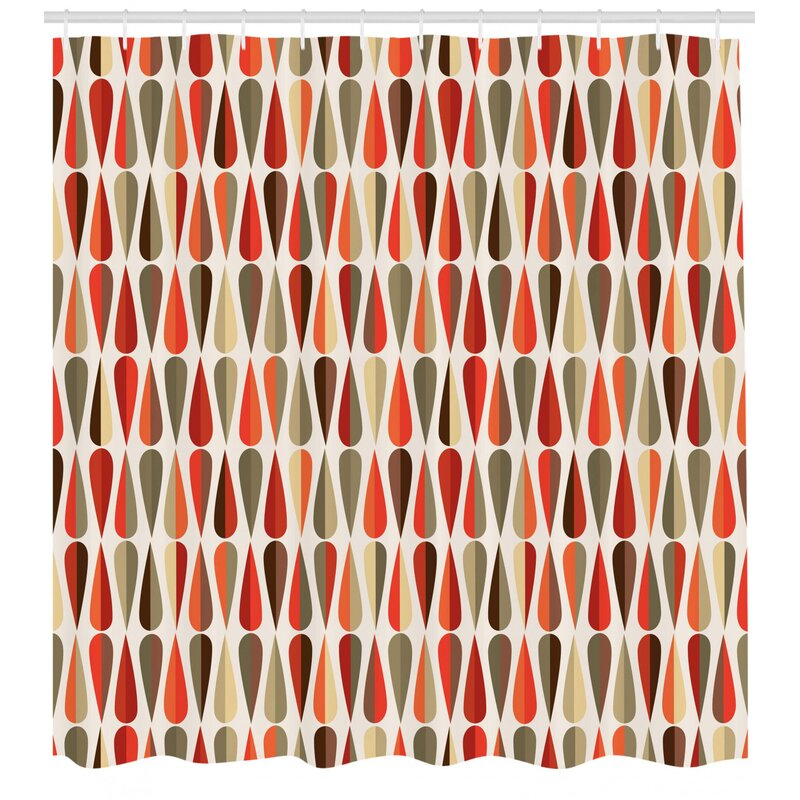 Ivy Bronx Alexander Retro Home Decor 60s 70s Style Geometric Round Shaped Design With Warm Colors Print Single Shower Curtain Wayfair