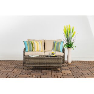 Buntingford Patio 2 Piece Rattan 2 Person Seating Group with Cushions