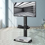 Bonilla Rebrilliant Black Motorized Swivel Floor Stand Mount with Shelving, Holds up to 110 Lb. lbs