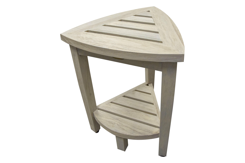 Merveilleux EcoDecors Oasis Coastal Vogue Compact Teak Corner Shower Bench With Shelf |  Wayfair