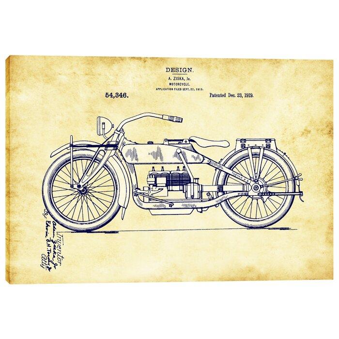 Epic graffiti vintage motorcycle patent blueprint graphic art on vintage motorcycle patent blueprint graphic art on wrapped canvas malvernweather Images
