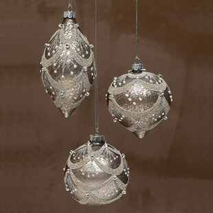 Champagne all christmas ornaments wayfair champagne glass chandelier ball ornament set of 3 mozeypictures Image collections
