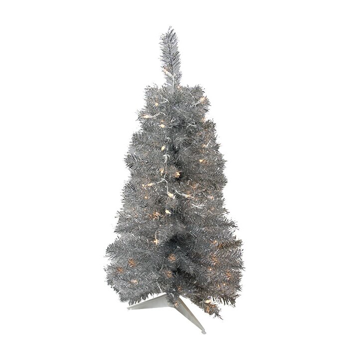 Pre Lit Tinsel 3 Gray Artificial Christmas Tree With 70 Lights