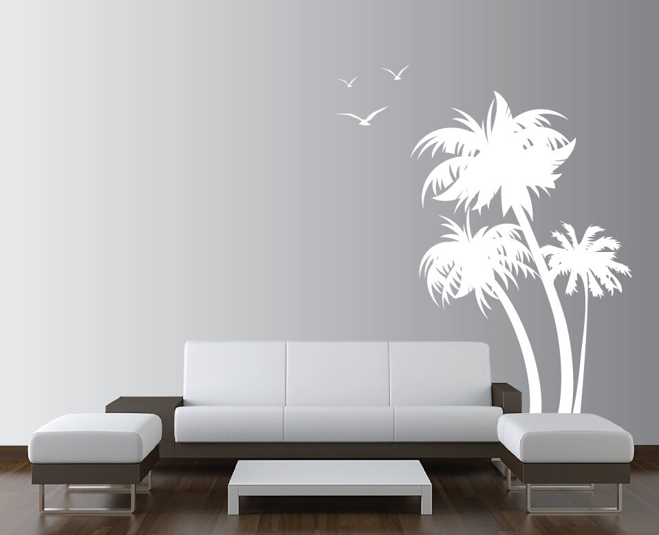 Palm Coconut Tree With Seagull Birds Nursery Wall Decal Part 29