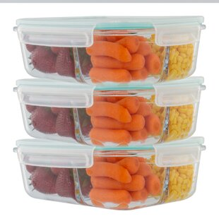 Imkamp 3 Compartment Glass 51 Oz. Food Storage Container (Set of 3)