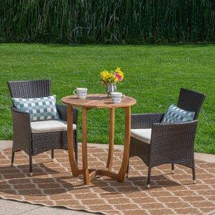 Millard Outdoor 3 Piece Bistro Set with Cushions by Winston Porter
