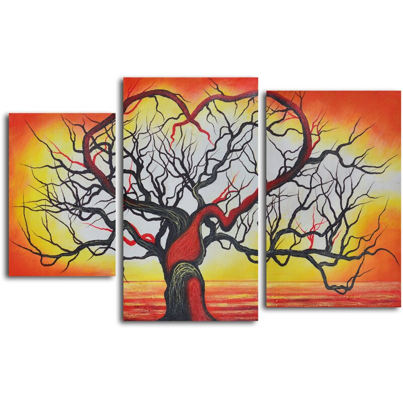 My Art Outlet The Love Of Trees 3 Piece Painting On Wrapped Canvas Set Wayfair
