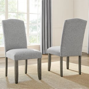 Atsabe Upholstered Parsons Chair in Gray Set of 2 by Gracie Oaks