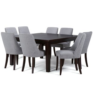 Bouie 9 Piece Solid Wood Dining Set by Canora Grey Great Reviews