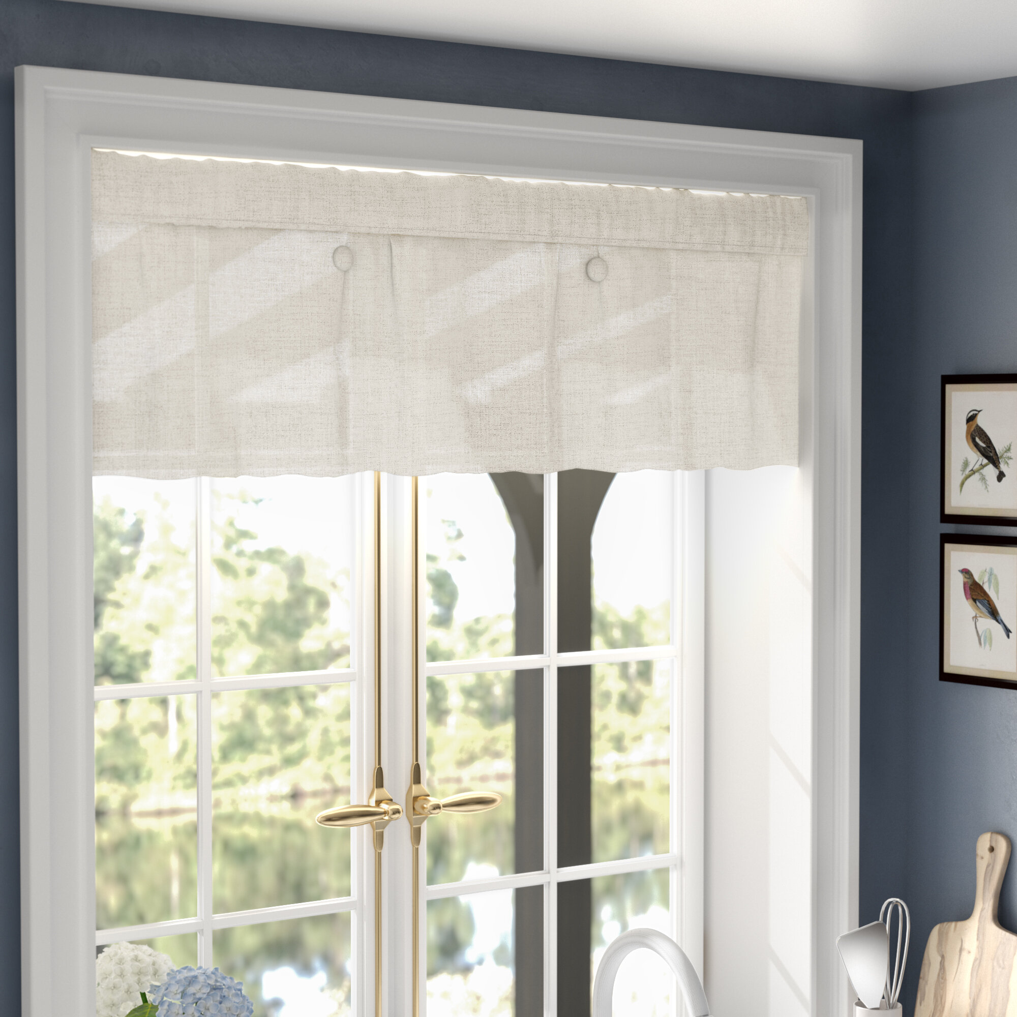 trim pleat pleated window frog inverted box valance pin applied with treatments