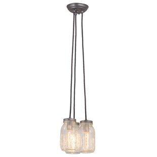 Catchings Mason Jar 3-Light Cluster Pendant by Gracie Oaks