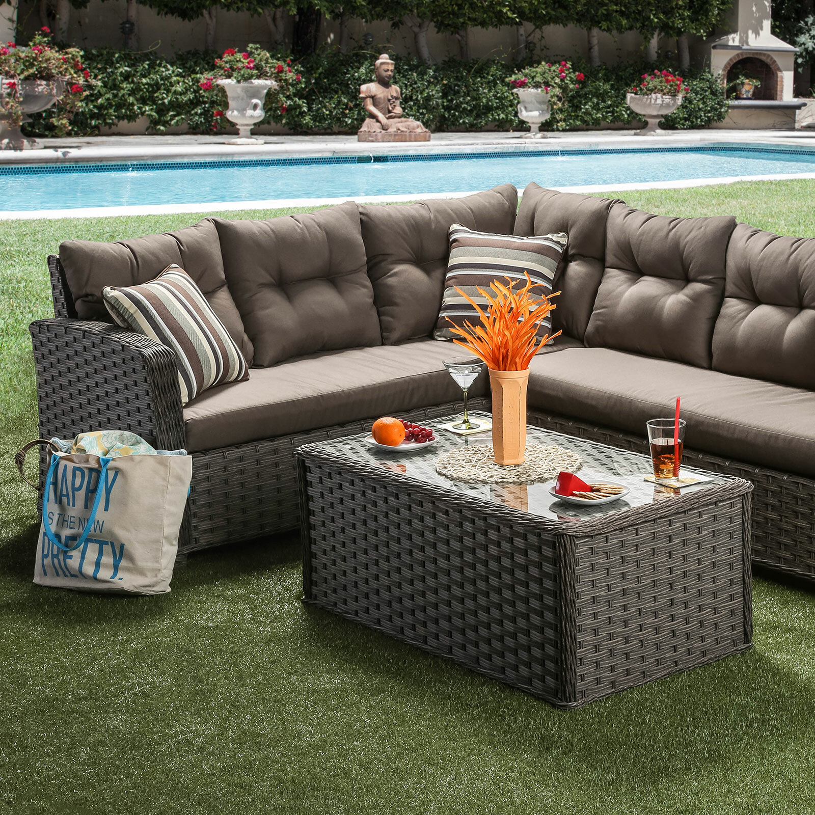 Red Barrel Studio Bradberry 3 Piece Patio Sectional with Cushions