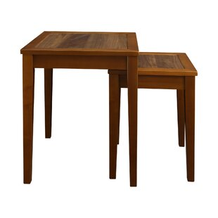 Bargain Webber Nesting End Tables with Concealed Compartment, Solid American Walnut Top By Loon Peak