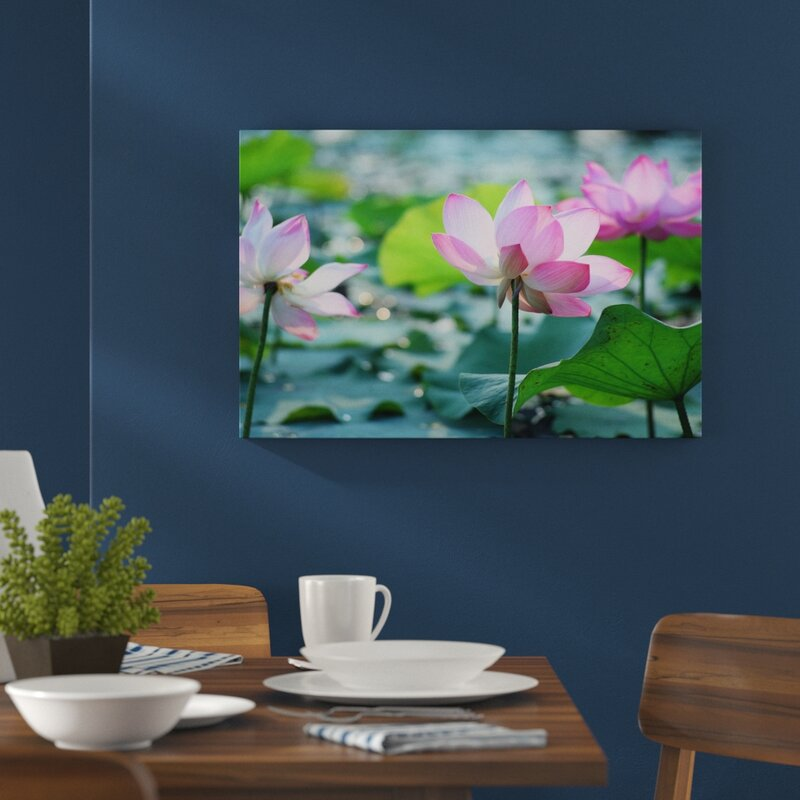Home Loft Concept Asian Pink Lotus Blossom In A Pond Wall Art On