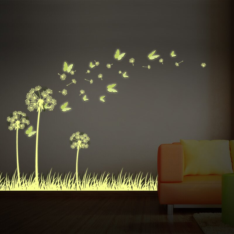 walplus glow in dark 3d butterfly and dandelion wall decal & reviews