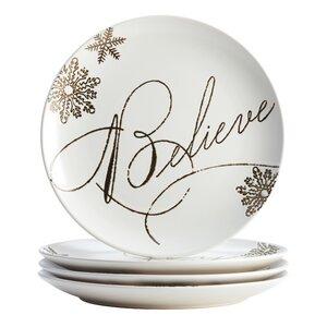 4 Piece Holiday Dessert Plate Set
