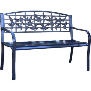 Jeco Inc. Flowers and Bird Curved Back Metal Park Bench
