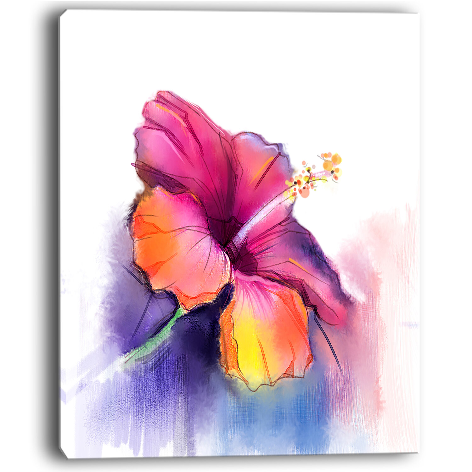 Designart red yellow hibiscus flower in blue large flower painting designart red yellow hibiscus flower in blue large flower painting print on wrapped canvas wayfair izmirmasajfo