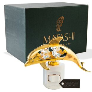 Matashi Crystal 24K Gold Plated Crystal Studded Dolphin Multi-Colored LED Night Light