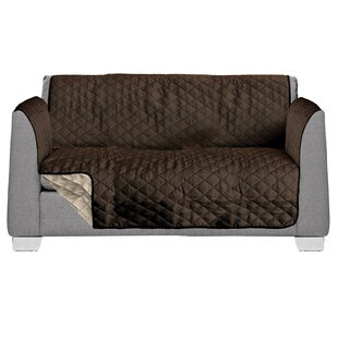 2 Seat Reversible Quilted Box Cushion Loveseat Slipcover by AKC