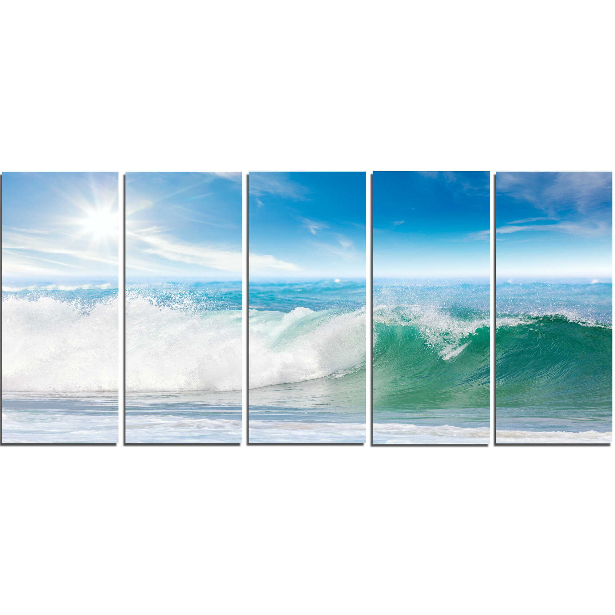 Designart White And Blue Waves Under Sun 5 Piece Photographic Print On Wrapped Canvas Set Wayfair