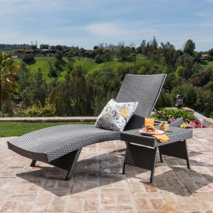 Deems 2 Piece Adjustable Lounge and Wicker Table Set