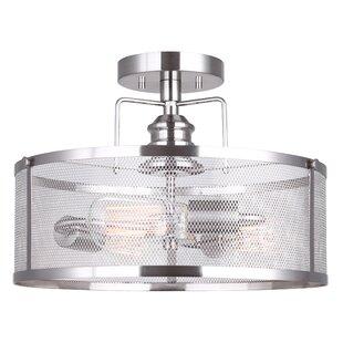 17 Stories Suismon 3-Light Glass Semi Flush Mount