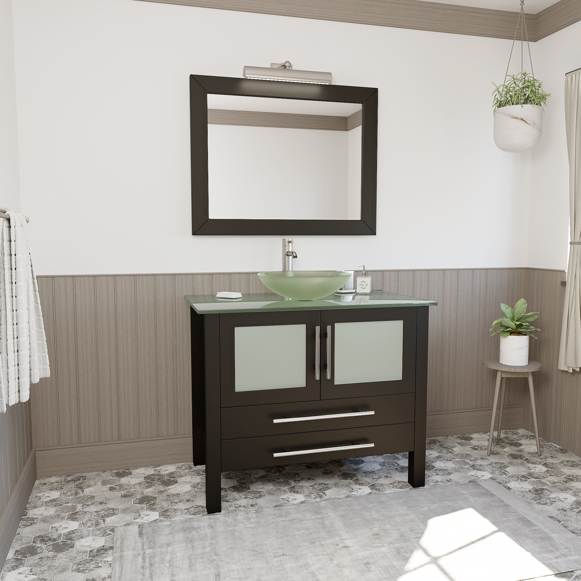 Brayden Studio Meserve Solid Wood Glass Vessel 36 Single Bathroom Vanity Set With Mirror Reviews Wayfair