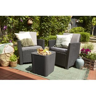 Berrios Balcony 3 Piece Bistro Set with Cushions by Highland Dunes