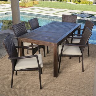 Avenir Outdoor Wood Wicker 7 Piece Dining Set With Cushions
