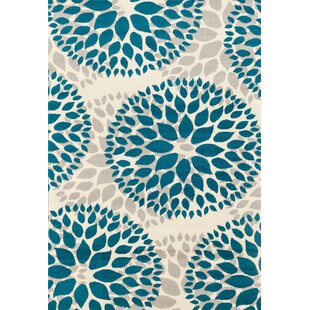 Best Wallner Power Loom Teal Blue Area Rug By Wrought Studio
