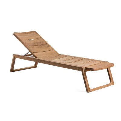 Diuna Adjustable Reclining Teak Chaise Lounger OASIQ