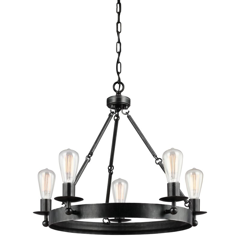Wagon Wheel Light Chandelier: Hines 5-Light Wagon Wheel Chandelier & Reviews