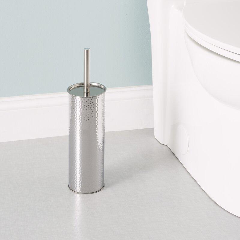 Home Basics Hammered Stainless Steel Toilet Brush and Holder Set