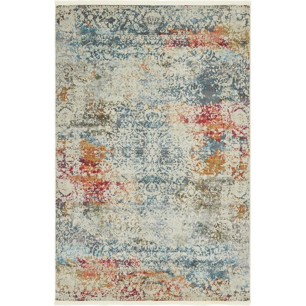 Bungalow Rose Lonerock Creamblue Area Rug Reviews Wayfair