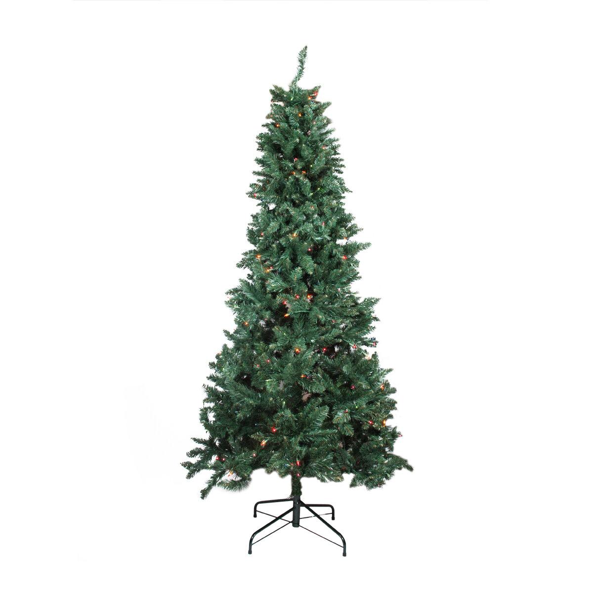Northlight 7.5\' Slim Pine Artificial Christmas Tree with Multi-Color ...